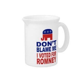 Don't Blame Me I Voted For Romney Beverage Pitcher