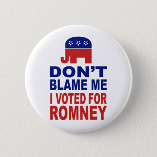 Don't Blame Me I Voted For Romney Button