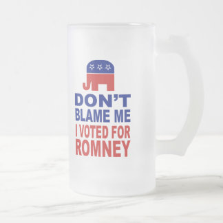 Don't Blame Me I Voted For Romney Frosted Glass Beer Mug