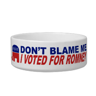 Don't Blame Me I Voted For Romney Pet Bowl