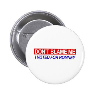 Don't Blame Me I Voted For Romney Pinback Button
