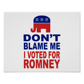 Don't Blame Me I Voted For Romney Poster