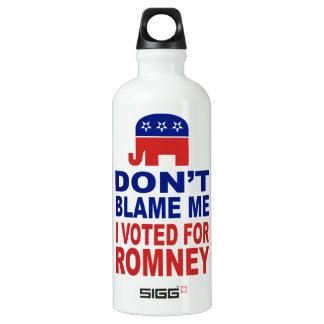 Don't Blame Me I Voted For Romney Water Bottle