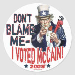 Don't Blame me, I Voted McCain Gear Stickers