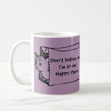 Coffee Themed Don't Bother Me Cat in a Bag Mug for Introverts!