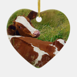 Don't Bother Me Cow Double-Sided Heart Ceramic Christmas Ornament