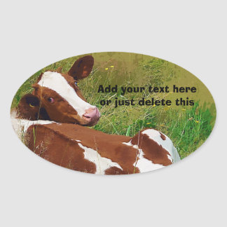 Don't Bother Me Cow Oval Sticker