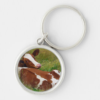 Don't Bother Me Cow Silver-Colored Round Keychain