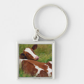 Don't Bother Me Cow Silver-Colored Square Keychain