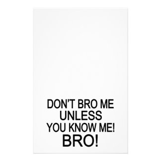 Don't Bro Me Personalized Stationery