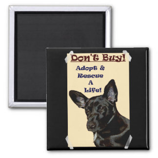 Don't Buy! Adopt & Rescue A Life! 2 Inch Square Magnet