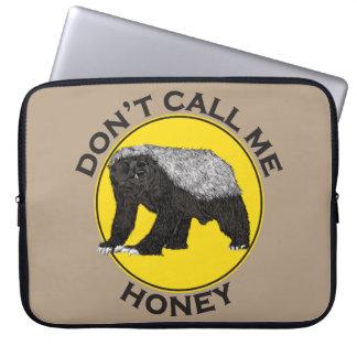 'Don't call me honey' yellow honey badger design Computer Sleeve