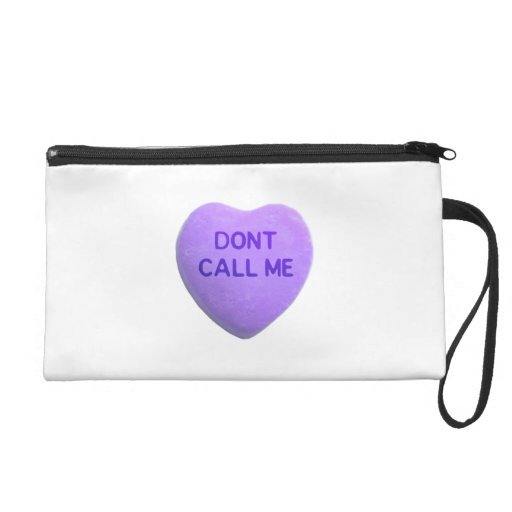 Don't Call Me Purple Candy Heart Wristlet Clutches