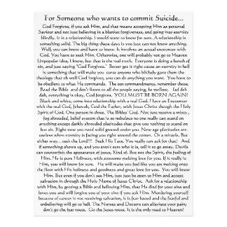 Don't Commit Suicide! Flyer