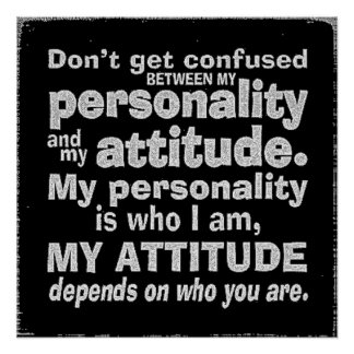 DONT CONFUSE PERSONALITY WITH ATTITUDE DEPENDS HOW POSTER