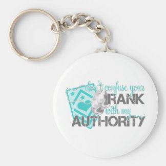 Don't Confuse Your Rank With My Authority Basic Round Button Keychain