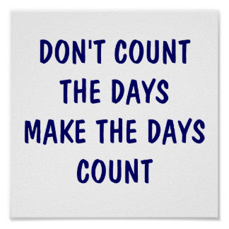 DON'T COUNT THE DAYS  MAKE THE DAYS COUNT POSTER