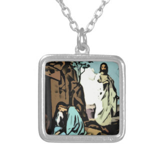 Don't Cry, The Tomb is Empty Square Pendant Necklace