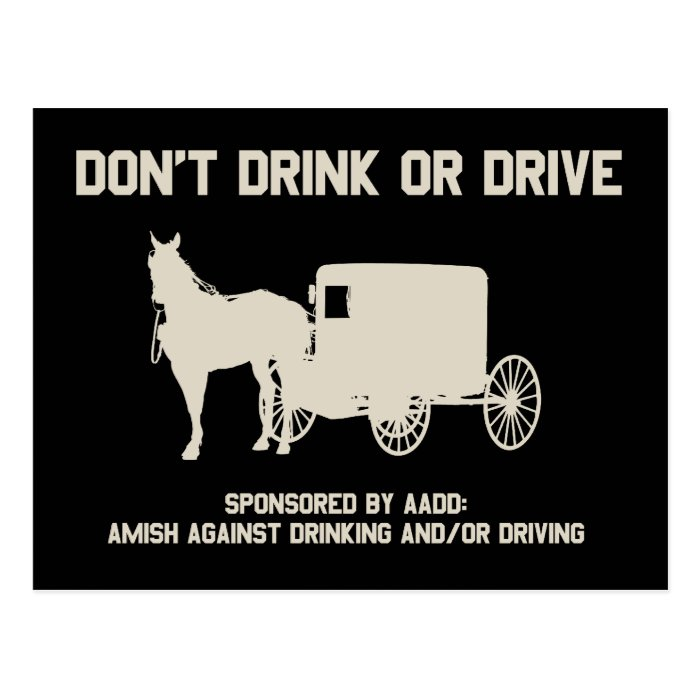 dont drink or drive postcard