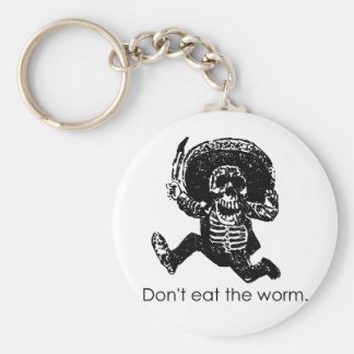 Don't Eat The Worm Mexican Skeleton Keychain