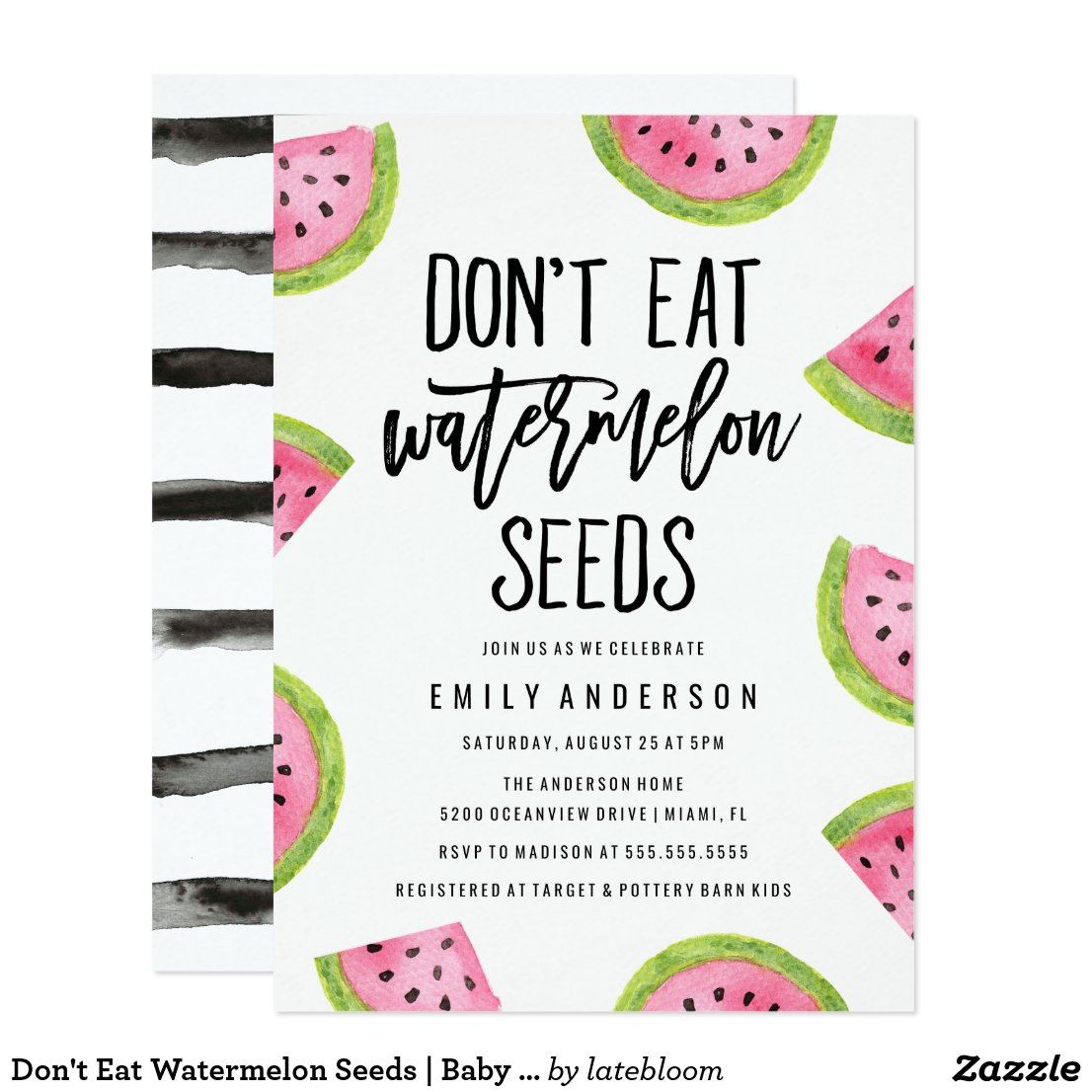 Don't Eat Watermelon Seeds | Baby Shower Card
