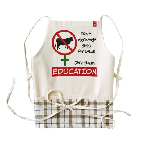 Don't Exchange Girls for Cows, Give Them Education Zazzle HEART Apron