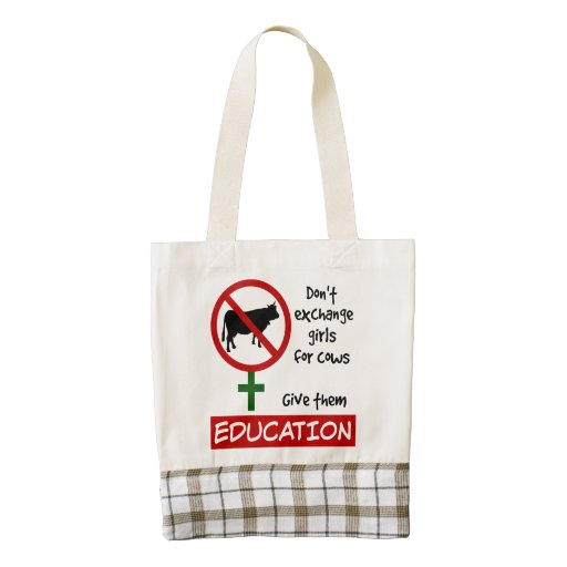 Don't Exchange Girls for Cows, Give Them Education Zazzle HEART Tote Bag