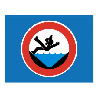 Don't Fall in the Water Sign, Germany Postcard