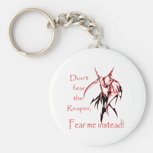 Don't fear the reaper basic round button keychain