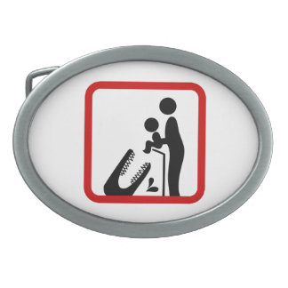 Don't Feed Baby To The Crocodile Zoo Sign Oval Belt Buckle