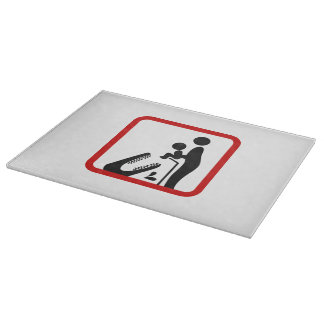 Don't Feed Baby To The Crocodile Zoo Sign Cutting Boards
