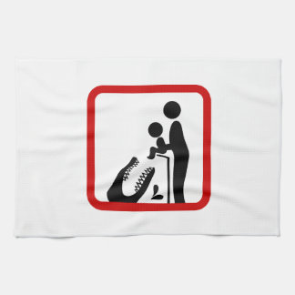 Don't Feed Baby To The Crocodile Zoo Sign Hand Towel