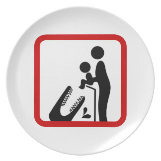 Don't Feed Baby To The Crocodile Zoo Sign Party Plates