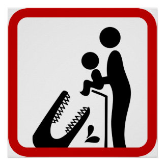 Don't Feed Baby To The Crocodile Zoo Sign Posters