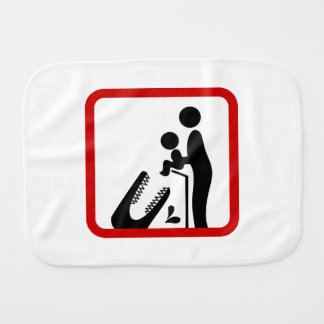 Don't Feed Baby To The Crocodile Zoo Sign Baby Burp Cloths
