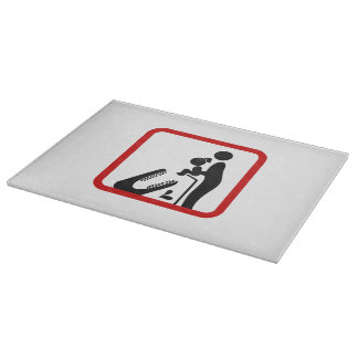 Don't Feed Daughter To The Crocodile Zoo Sign Cutting Boards