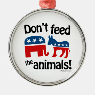 Don't Feed the Animals - Round Metal Christmas Ornament