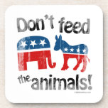 Don't Feed the Animals Party Politics Drink Coaster