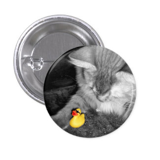 'Don't Feed the Cat' Rubber Duck Button (small)