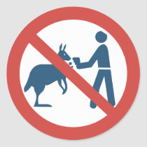 Don't Feed the Kangaroos Sign, Australia Classic Round Sticker