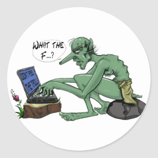 Don't feed the troll classic round sticker