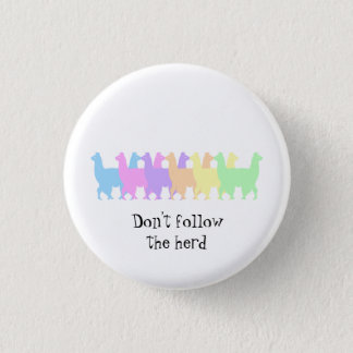 Don't follow the herd colourful Llama button