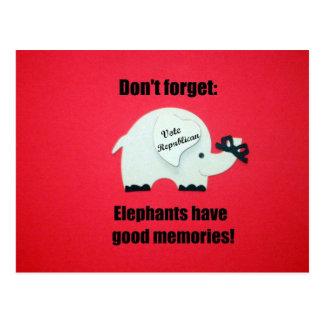 Don't' forget, Elephants have good memories! Postcard