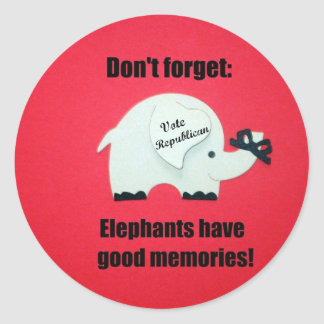 Don't' forget, Elephants have good memories! Stickers