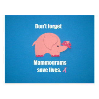 Don't forget Mammograms save lives. Postcard