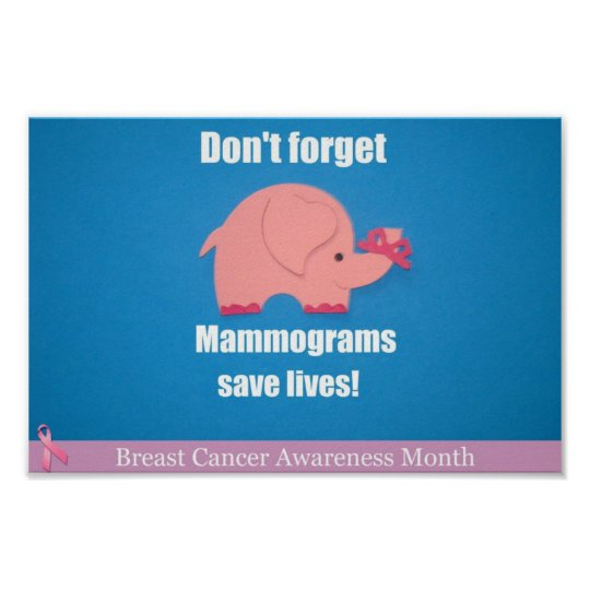 Don't forget, Mammograms save lives! Poster