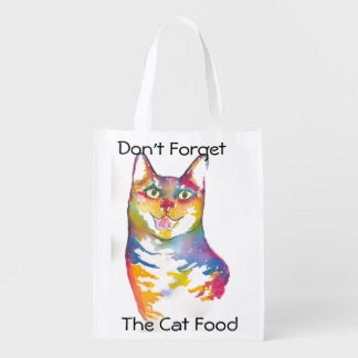 Don't forget the Cat food Grocery Bag Reusable Grocery Bag