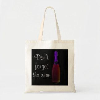 """Don't Forget the Wine"" - Purple Wine Bottle Tote Bag"
