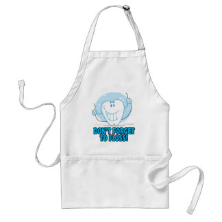don't forget to floss flossing cartoon tooth adult apron