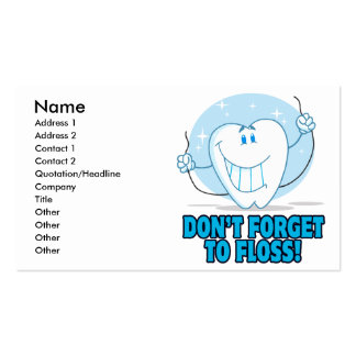 don't forget to floss flossing cartoon tooth Double-Sided standard business cards (Pack of 100)